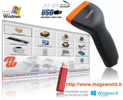 BARCODEYES Kit Barrierefreier + MAGA World Professioneller Software von Magazzino Gestionale Magazzino-Programm von Magazzino Ladung Inventar, Barcodes, Touch Screen