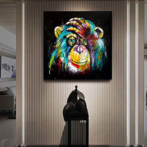 tzxdbh Aquarell Denken AFFE Wandkunst Leinwand Abstrakte Tiere Pop-Art Leinwand Gemälde Wanddekor Bilder Für Kinderzimmer