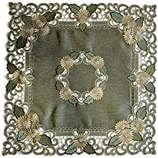 Doily Boutique Tablecloth or Table Topper Square Embroidered with Gold Daisy Flowers on Sage Green Burlap Linen Fabric Size 34 inches