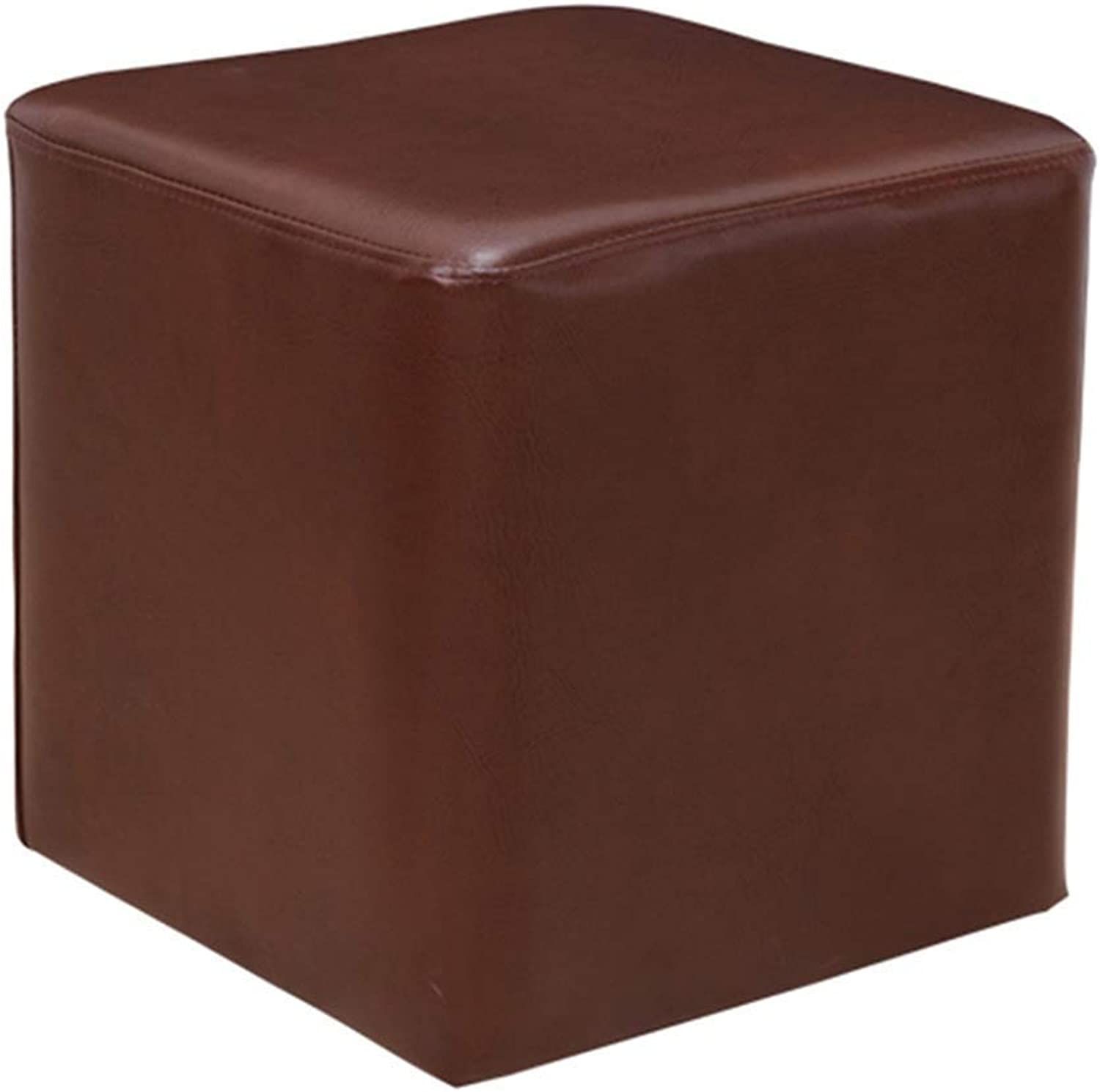 Footstool Simple Multifunction Household Sofa Stool Small Square Stool Change shoes Bench Dressing Stool GMING (color   Brown, Size   35x35x36cm)