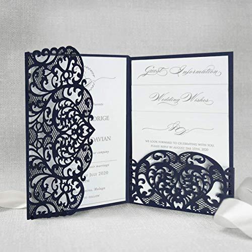 Marine Blau gefaltet Einladungskarten + KUVERT Lasergeschnittene mit Spitze - Hochzeitskarten Einladungen edles Papier für Gebustag, Hochzeit, Taufe, Scrapbooking MUSTER- Vorgedrucktes Sample