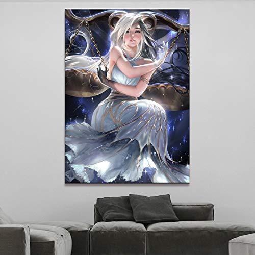 Danjiao Wandkunst Poster Leinwanddruck 1 Stück Horoskop Serie Waage Bilder Spray Sexy Girl Malerei Für Wohnzimmer Wohnkultur Wohnzimmer 60x90cm