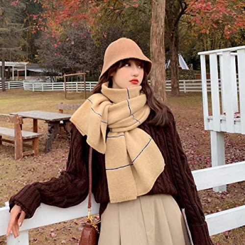 Sciarpe Sciarpa Elegante Vintage Moda Autunno Inverno Comoda Elegante Vintage Spessa Calda Carina Sciarpa Lavorata A Maglia A Righe Taglia Unica Kaki
