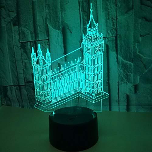 Wenig/kleines Nachtlicht, Gebäude Big Ben 3d Kleines Nachtlicht Bunte berührungsempfindliche 3d Lampe Geschenk 3d Leuchten Drei-in-eins-Modus Acryl 3D LED Tischlampe Schlaf der Kinder