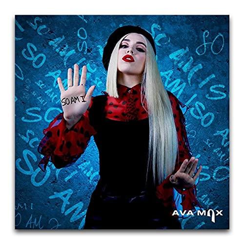 BAIWANO Ava Max SO AM I Elegantes Poster Retro Pop Sänger Tapete Poster Moderne Kunst Wanddekoration Bilder Kunst Geeignet für Küche Hotel