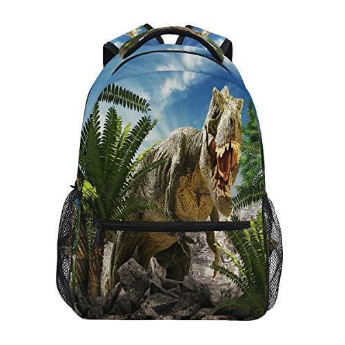 HaJie Backpack African Tropical Dinosaur Palm Leaves Travel Daypack Large Capacity Rucksack Casual School Book Bag Shoulder Straps Computer Laptop Bag for Womens Mens Teenage Girls Boys