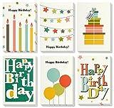 Colorido Feliz cumpleaños tarjetas de felicitación–6brillantes diseños incluye presenta, velas, globos, Star Buntings, incluye sobres–paquete de 48