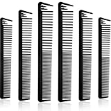 6 Pieces Carbon Fiber Cutting Combs No Frizzy Dressing Comb Fine and Wide Tooth Hair Barber Comb Hair Divider Comb Heat Resistant Barber Hairdressing Comb Fiber Salon Hairdressing Comb