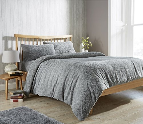 Olivia Rocco Teddy Fleece Duvet Cover Set Super Soft Warm Cosy Quilt Covers Bedding Sets With Pillowcases, Grey Single
