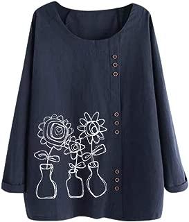 SOMESUN Women's Long Sleeve Linen Blouse Cotton Linen O-Neck Floral Print High Low Shirt Roll-Up Sleeve Tops
