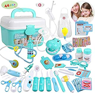 HOWADE 44 Pieces Educational Doctor Pretend Play Toy Set Dentist Medical Kit with Storage Box & Lights & Sounds for Girls/...
