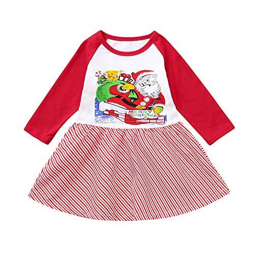 catmoew Mädchen Kleidung (1-4J) Kinder Kleider Mädchen Weihnachtsmann Lange Ärmel Twill Kleid Nähen Drucken Baby kinderkleidung babymode