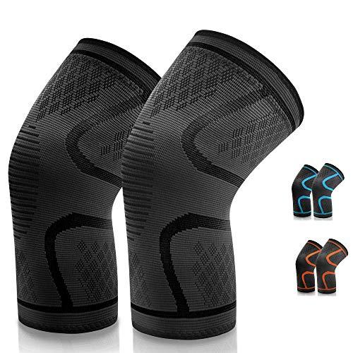 VIPFAN Kniebandage, Knieschoner Knieschützer 2 Pack für Laufen Walking Radfahren Fußball Basketball (L, All Schwarz)