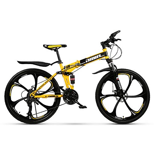 KXDLR mountainbike, inklapbaar, 26 inch, mountainbike, 24 versnellingen, dubbele vering, kinderfiets, geel