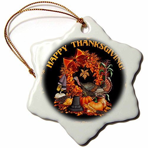 3dRose LLC Thanksgiving Featuring A Wild Turkey, Native American and Pilgrim Themes, The Fall Harvest and More 3-Inch Snowflake Porcelain Ornament