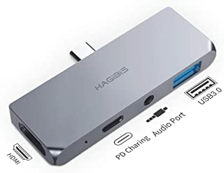 Hagibis USB C Hub for 2018 2019 iPad Pro, Microsoft Surface Go, Magnetic Type C Adapter Dongle with 4K HDMI, USB-C 60W PD Charging, USB 3.0 and 3.5mm Headphone Jack AUX Docking Station