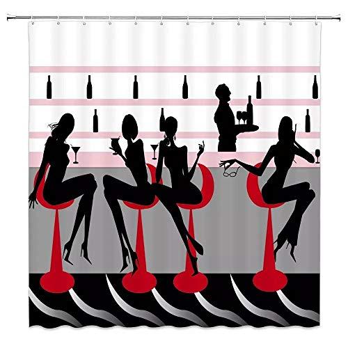 N / A Moda niñas Modernas Bebiendo en la decoración del Bar Cortina de Ducha para el hogar Silueta Negra Silla roja Mujeres poliéster impermeable-W120cmxH200cm