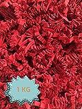 Wiits Natura | Papel Triturado Arrugado para Relleno y Decoración de Cajas | Paja Decorativa Virutas | Color Rojo | 1 Kilogramo | Biodegradable y Compostable | Libre de Plástico