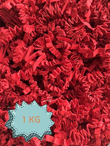 Wiits Natura   Papel Triturado Arrugado para Relleno y Decoración de Cajas   Color Rojo   1 Kilogramo   Biodegradable y Compostable   Libre de Plástico