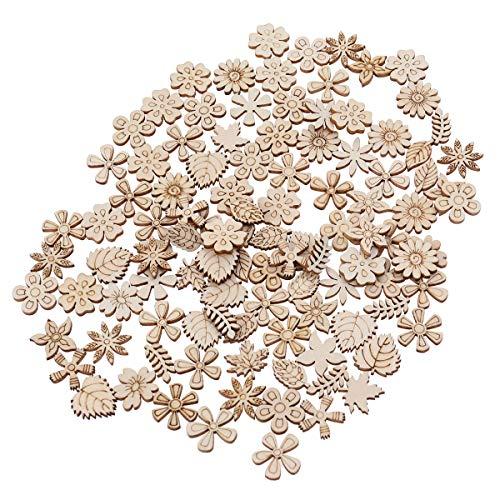 Healifty 100 piezas de madera en forma de hoja de flor para pintar para manualidades, álbumes de recortes, adornos de 20 mm (patrón mixto)