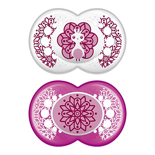 MAM Clear Pacifier (2 pack, 1 Sterilizing Pacifier Case), Pacifiers 6 Plus Months, Best Pacifiers for Breastfed Babies, Sterilizing Storage Case, Baby Girl Pacifiers