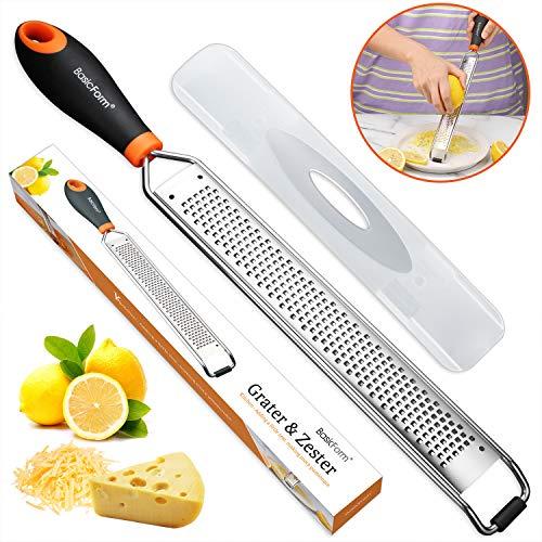 BasicForm - Rallador de queso con hoja grabada ácida sin esfuerzo para rallar limón, jengibre, patata, mango suave