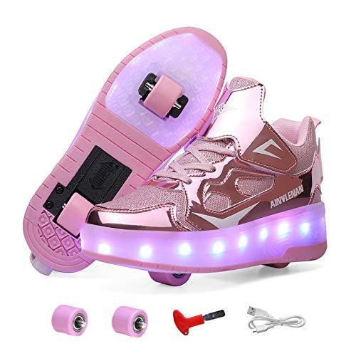 Schuhe mit rollen für mädchen Jungen, Doppelräder Retraktable Sneakers, Outdoor Schuhe mit rollen Gute Geschenk für Kinder, Wiederaufladbare LED Rollschuhe mit Rollen für Spielplatz Schule-A 39