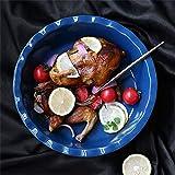 COOLSHOPY 10 Pulgadas Cerámica Cerámica Grande Cakekeware para BBQ Hornear Risotto Fruta Ensalada Sopa Ramen Fideos Pot Vegetal Cuenca Mezcla Sirviendo Cocinados Cuencos