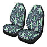 GePrint Green Cactus Car Seat Cover Cartoon Design Vehicle Seat Protector for Car Seat Universal Car Front Seat Covers Full Set 2 pc,for Women Teen Girls