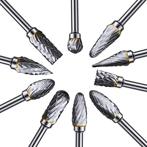 10 Pieces Rotary Burr Set Carving Bits Tool Tungsten Carbide Steel Solid Twist Drill Bit Grinding Head Shank Files Rasp for Woodworking, Drilling Metal, Carving, Engraving, and Polishing