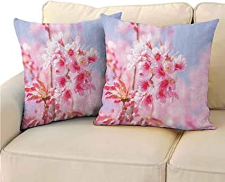 QIAOQIAOLO Pack of 2 Sofa Hug Pillowcase Floral Double-Sided Printing 18x18 inch Sakura Blossom Branches Flower Essence Fragrance Nature Elegance Picture Light Pink Purplegrey