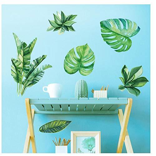 MINGKK - Adhesivo decorativo para pared, diseño de hojas verdes