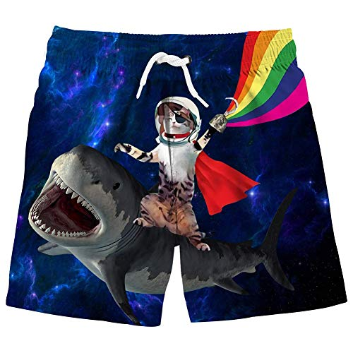 Baby Boy's Swim Trunks Shark 3D Printed Sports Running Beach Boardshort Novelty Kids Swimsuit with Mesh Lining 4-5T
