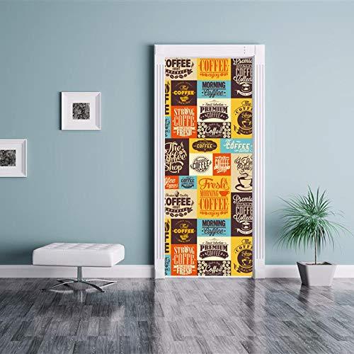 BXZGDJY 3D Tür-Wand-Aufkleber Kaffeetasse Logo 90X200Cm Abnehmbare Tür-Aufkleber Photo Pvc-Tapete, Selbstklebendes Wandgemälde Für Schlafzimmer-Haupttür-Büro-Wand-Aufkleber-Dekoration,Türtapete Selbs