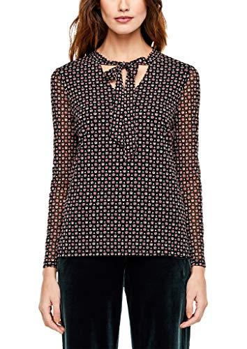 s.Oliver BLACK LABEL Damen Mesh-Shirt mit Schluppe black AOP dot print 36