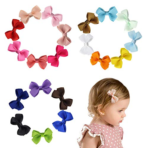 Ealicere 20 Stück Kleine Haarschleifen Haarbögen, Mehrfarbig Haarspangen Schleife, Haarklammern mit Krokodilklemmen und Ripsband Bögen, Haarspange Haarschmuck für für Baby Mädchen Kleinkinder