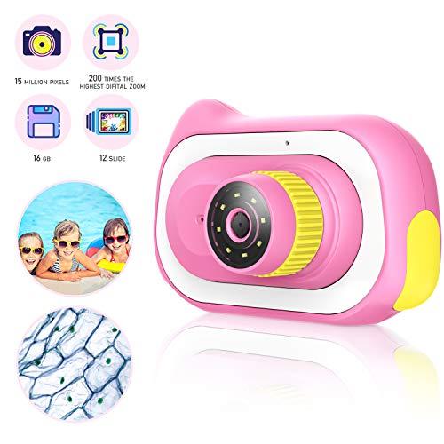 Pancellent Kinder Kamera für Kleinkind, 15,0M Mikroskop 0 ~ 200X Ausbildungsspielzeug Natur Entdecker Kamera Spielzeug mit 16G Speicherkarte 12 Dias, Pink