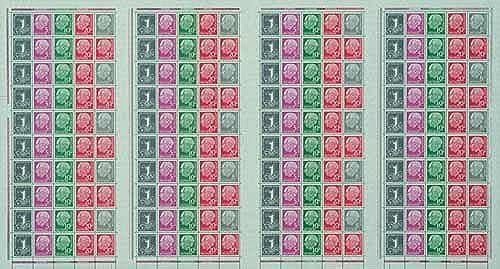 Goldhahn BRD Markenheftbogen Nr. 5X Heuss 1958  Briefmarken für Sammler