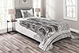 Ambesonne Notre Dame Bedspread, European Heritage Antique Architecture Sketch Art Print, Decorative Quilted 2 Piece Coverlet Set with Pillow Sham, Twin Size, Charcoal Grey and White