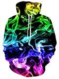 Men and Women Novelty Fleece Hoodies Colorful Smoke Pullover Hoodies Trippy Fire Flame Cool Athletic Sweaters Hooded Sweatshirt Blue Green