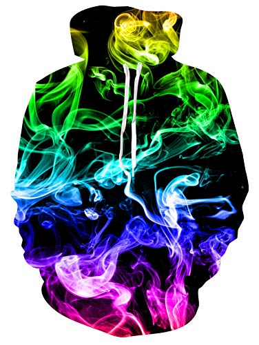 Men and Women Novelty Fleece Hoodies Colorful Smoke Pullover Hoodies Trippy Fire Flame Cool Athletic...