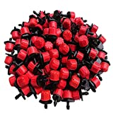 Kalolary 100Pcs 1/4Inch Adjustable Micro Drip Irrigation System Watering Sprinklers Anti-Clogging Emitter Dripper Garden Supplies(Red)
