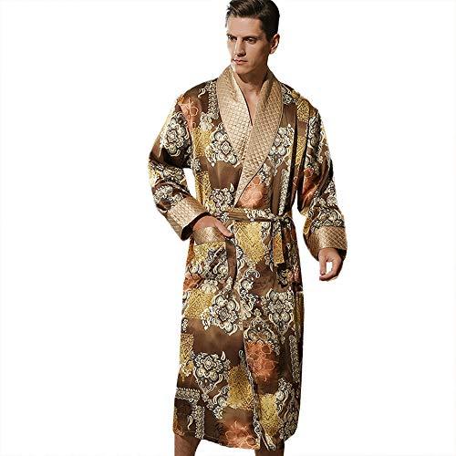 Camisón De Satén 100% Seda para Hombre Pijamas De Manga Larga Bata Suelta Doble Espesamiento Ropa De Dormir con Cinturón De Faja Albornoz Bata Amarilla L-XXL,Amarillo,XL