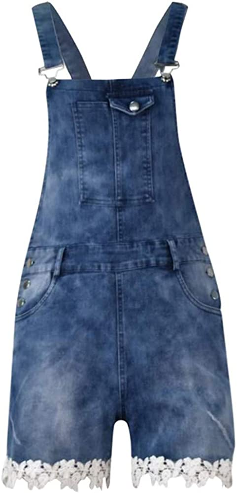 MoneRffi Women Sleeveless Overalls Shorts Pants Pocked Rompers Dungarees Jumpsuit
