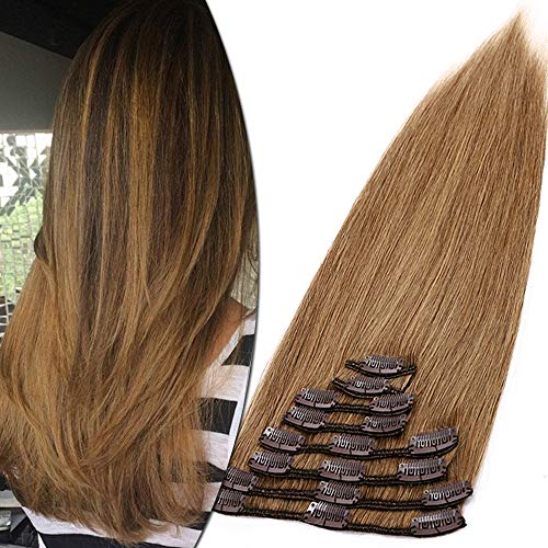 Clip in Extensions Echthaar Haarverlängerung Haarteil 8 Tressen hitzebeständig glatt Hellbraun#6 20 cm (65 g)