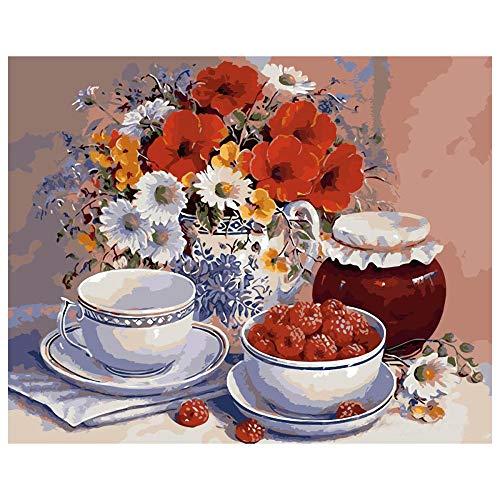 JinwoRyeahs Reproducciones de pintura al óleo, murales abstractos de color, pinturas colgantes, lienzo impermeable flores y frutas sin marco, 40 x 50 cm