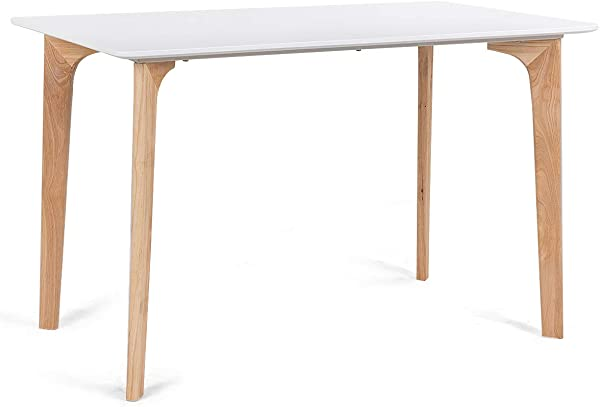 Giantex Modern Dining Table Mid Century Home Dining Room Kitchen Table W Rectangular Top Wood Legs 47 5 X 27 5 White