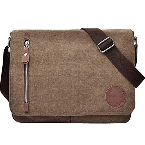 11.6-13.3 Inch Laptop Messenger Bag for Men and Women, Canvas Vintage Crossbody Bag Bookbag Briefcases for Work School (Coffee)