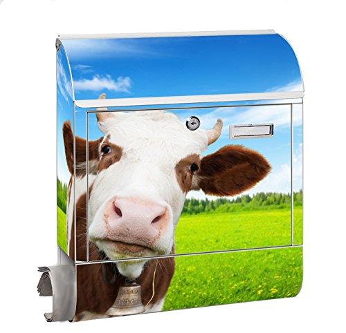 KlebeSpatz® Design Motiv Briefkasten Letterbox Maxi mit Zeitungsfach Zeitungsrolle für C4 Post Groß Kuh 1