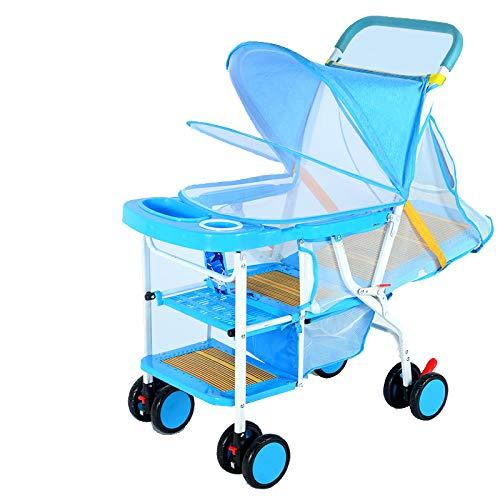 Unbekannt Sommer Kinderwagen Licht Imitation Rattan kann sitzen Wicker Stuhl Baby 0-3 Jahre altes Kind Bambus Kinderauto liegen Linen Blue Deluxe Edition